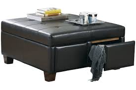 furniture big square black leather storage drawer ottoman cooffee