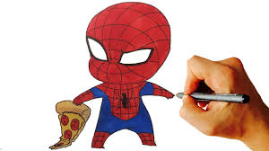 how to draw spiderman chibi from marvel characters easy step by