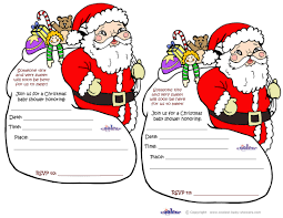 Christmas Invite Cards Printable Santa Baby Shower Invitations
