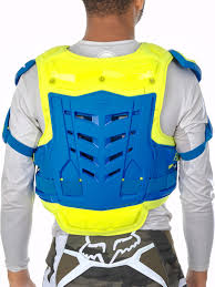 fox motocross body armour fox blue yellow 2017 raptor vest mx chest protector fox
