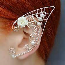 wire ear cuffs ear cuff fairy earrings elven ears flower earrings