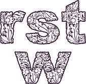 retro ornamental typeface beautiful flowerpatterned letters stock
