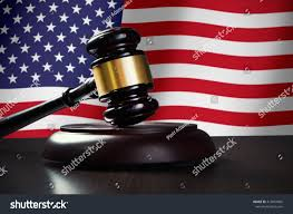 Flag Law Wooden Gavel Usa Flag Background Justice Stock Photo 413841865
