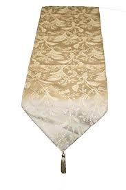 luxury damask table runner amazon com violet linen luxury damask table runner 13 x 90 gold