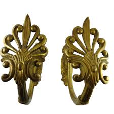 large antique gilt brass curtain tiebacks from ornaments