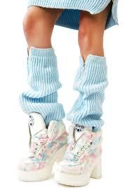 maria ke fisherman blu fluffy knit leg warmers dolls kill