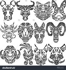 snake tiger tattoo chinese zodiac signs set rat ox stock vector 510400564 shutterstock
