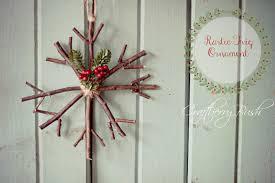 handmade ornament rustic twig snowflake yellow bliss road