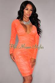 miami styles neon coral lace illusion ruched sleeves dress
