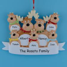 reindeer family of 7 resin hanging personalized