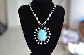 turquoise necklace silver chain images Diy charming turquoise pendant necklace with pearl beads jewelry jpg