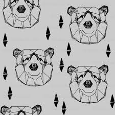 geometric bear head grey bear face bear head geometric design