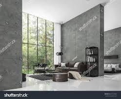 modern loft living room bedroom 3d stock illustration 663724864