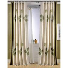 Green And Beige Curtains Beige And Green Floral Embroidery Linen Color Block Curtains