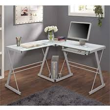 Edison Table L Walker Edison Soreno L Shaped Glass Computer Desk White With