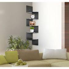 Espresso Corner Bookshelf Greenco 5 Tier Wall Mount Corner Shelves Espresso Finish Ebay