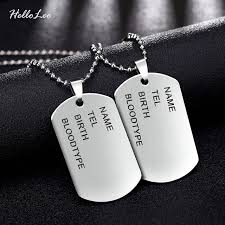 man necklace steel images Brand link chain man necklace military army dog tags men 39 s jpg