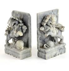 chinese guardian lion marble bookends ebth