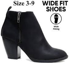 womens size 9 wide fit boots wide fit ankle boots womens block low mid heel chelsea zip
