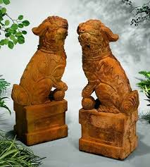 orange foo dogs foo dogs garden statues set of 2