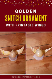 golden snitch ornament with printable wings eclectic
