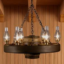 Hurricane Lamp Chandelier Wagon Wheel Chandeliers Cabin Place