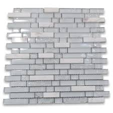 white and crackled glass mix white marble random brick mosaic tile