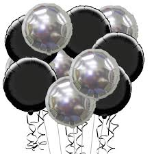 silver balloons 15 inflated black and silver foil party balloons balloons co uk