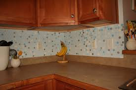 kitchen artistic smart light blue polcadot ceramics backsplash
