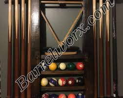pool table wall rack whiskey barrel stave pool cue stick wall mount rack