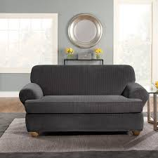 2 Piece Stretch Sofa Slipcover Surefit Stretch Pinstripe 2 Piece T Cushion Sofa Slipcover Black