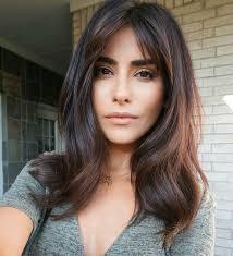 layered medium lenght hair with bangs hair balayage warm brunette long bangs fringe face framing medium