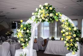arch decoration beautiful wedding flower arch decoration in restaurant stock