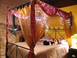 beautiful yellow and pink bed canopy fairy light bedroom