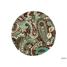 Brown And Turquoise Area Rugs Hand Hooked Gena Contemporary Floral And Paisley Indoor Outdoor