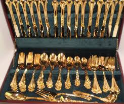 beautiful 83 pc f b rogers gold plated chippendale flatware