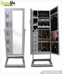 Jewelry Storage Cabinet Bedroom Standing Dressing Mirror With Large Space Inside Jewelry