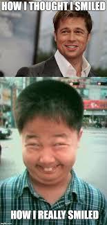 Smile Funny Meme - brad pitt and funny smiling kid memes imgflip