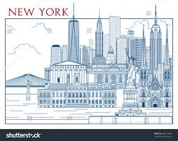 Handmade In New York - new york attractions handmade drawing vector stock vector