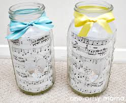sheet music and mason jar centerpieces one artsy mama