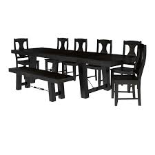 Dining Table And 4 Chairs Rustic Solid Wood Extension Dining Table 4 Chairs And Bench Set