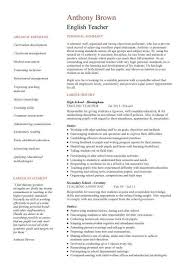 Resume Sample For Lecturer English Teacher Resume Template Cv Examples Teaching Academic