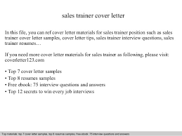 sales trainer cover letter