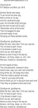 1940s top songs lyrics for bye ee