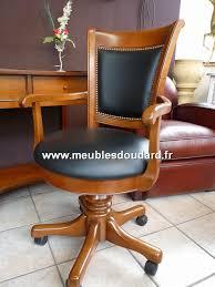 chaise de bureau a fauteuil de bureau à roulettes tournant en merisier réf 128