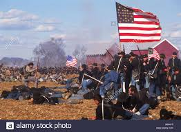 Civil War Union Flags Reinactment Of Civil War Battle Between Union Army And Confederate