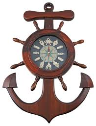 wooden anchor wall wooden ships wheel anchor sailors knot wall clock style