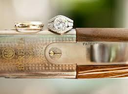 shotgun wedding ring wedding rings photographed on barrel berretta