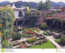 courtyard in a spanish style hotel in antigua guatemala editorial