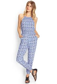 forever 21 jumpsuits lyst forever 21 mosaic woven halter jumpsuit in blue